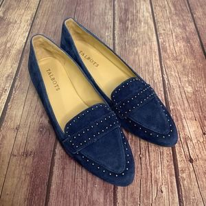 TALBOTS Blue Francesca Studded Driving Loafers